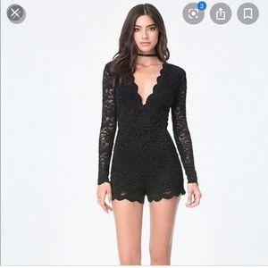 Bebe Black Lace Shorts Romper